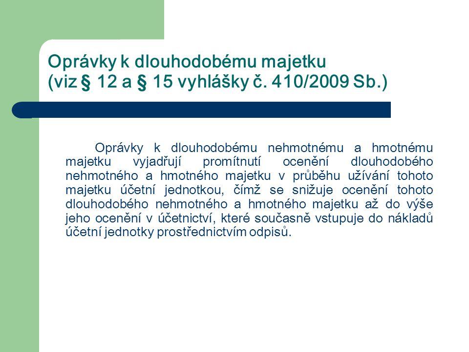 Oprávky k dlouhodobému majetku (viz § 12 a § 15 vyhlášky č. 410/2009 Sb.) Oprávky k dlouhodobému nehmotnému a hmotnému majetku vyjadřují promítnutí oc