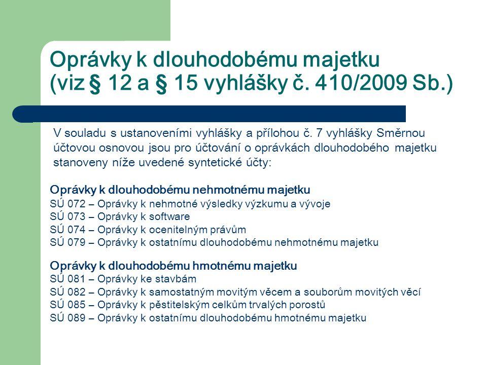 Oprávky k dlouhodobému majetku (viz § 12 a § 15 vyhlášky č. 410/2009 Sb.) V souladu s ustanoveními vyhlášky a přílohou č. 7 vyhlášky Směrnou účtovou o
