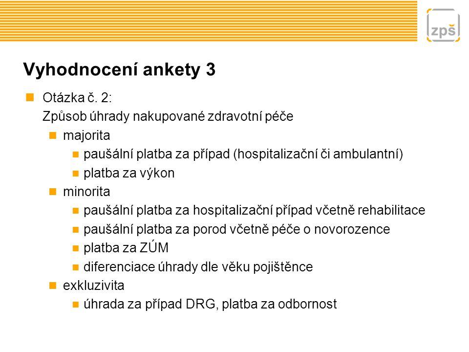 Vyhodnocení ankety 3 Otázka č. 2: Způsob úhrady nakupované zdravotní péče majorita paušální platba za případ (hospitalizační či ambulantní) platba za