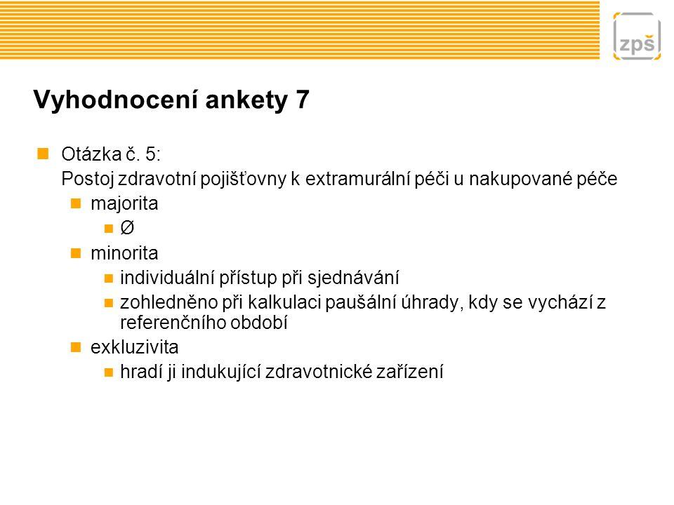 Vyhodnocení ankety 7 Otázka č. 5: Postoj zdravotní pojišťovny k extramurální péči u nakupované péče majorita Ø minorita individuální přístup při sjedn