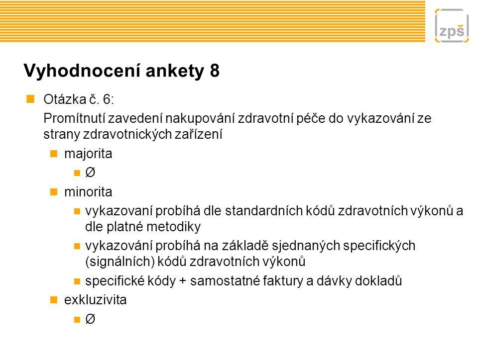Vyhodnocení ankety 8 Otázka č. 6: Promítnutí zavedení nakupování zdravotní péče do vykazování ze strany zdravotnických zařízení majorita Ø minorita vy