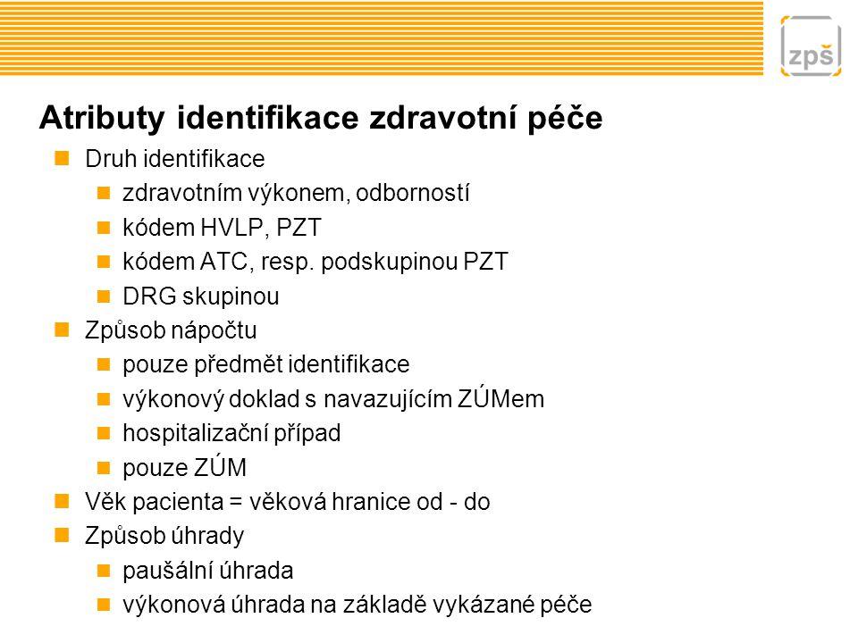 Atributy identifikace zdravotní péče Druh identifikace zdravotním výkonem, odborností kódem HVLP, PZT kódem ATC, resp. podskupinou PZT DRG skupinou Zp