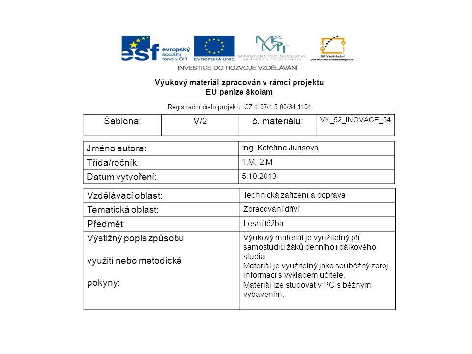 Výukový materiál zpracován v rámci projektu EU peníze školám Registrační číslo projektu: CZ.1.07/1.5.00/34.1104 Šablona:V/2č. materiálu: VY_52_INOVACE