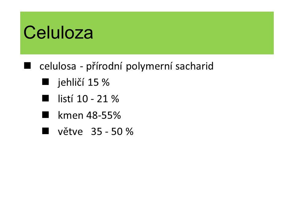 Celuloza celulosa - přírodní polymerní sacharid jehličí 15 % listí 10 - 21 % kmen 48-55% větve 35 - 50 %