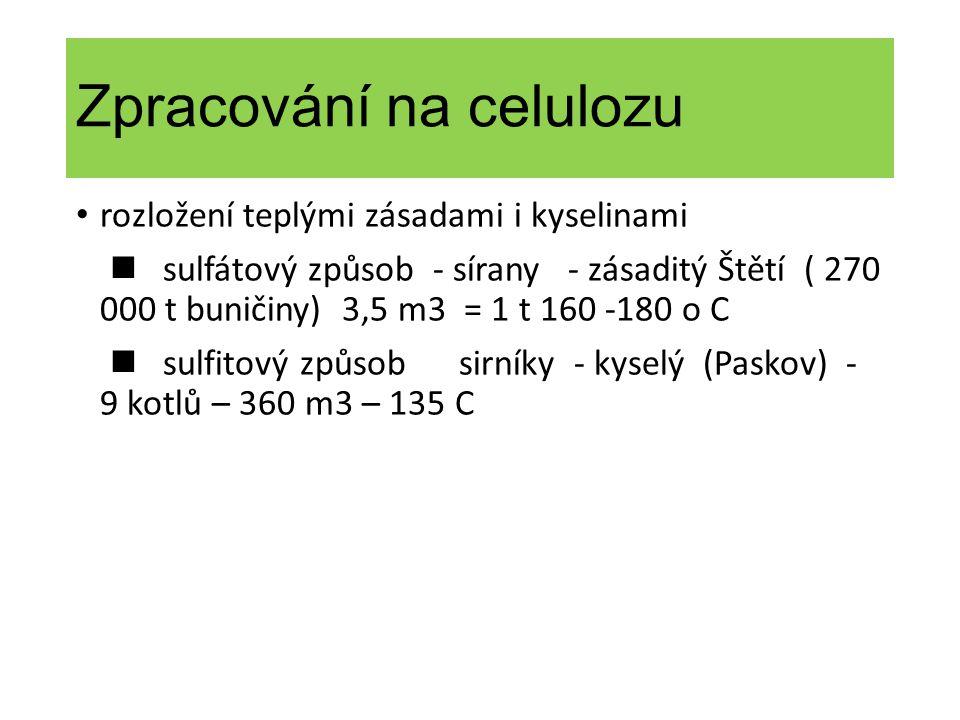 Zpracování na celulozu rozložení teplými zásadami i kyselinami sulfátový způsob - sírany - zásaditý Štětí ( 270 000 t buničiny) 3,5 m3 = 1 t 160 -180