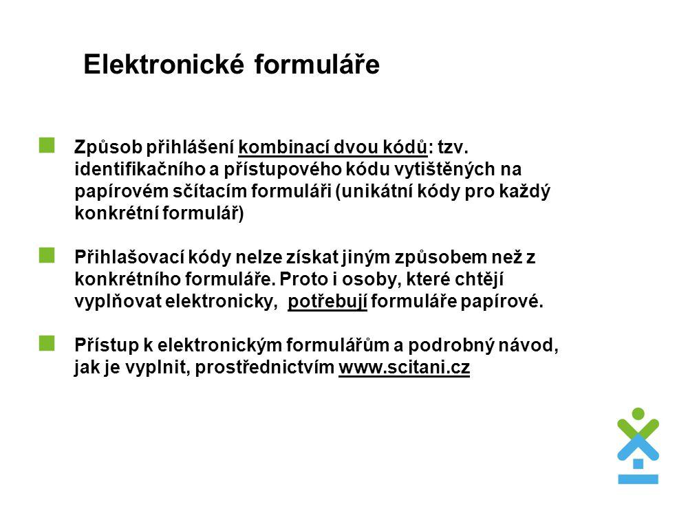 Elektronické formuláře  Způsob přihlášení kombinací dvou kódů: tzv. identifikačního a přístupového kódu vytištěných na papírovém sčítacím formuláři (