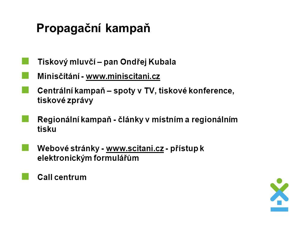 Propagační kampaň  Tiskový mluvčí – pan Ondřej Kubala  Minisčítání - www.miniscitani.cz  Centrální kampaň – spoty v TV, tiskové konference, tiskové