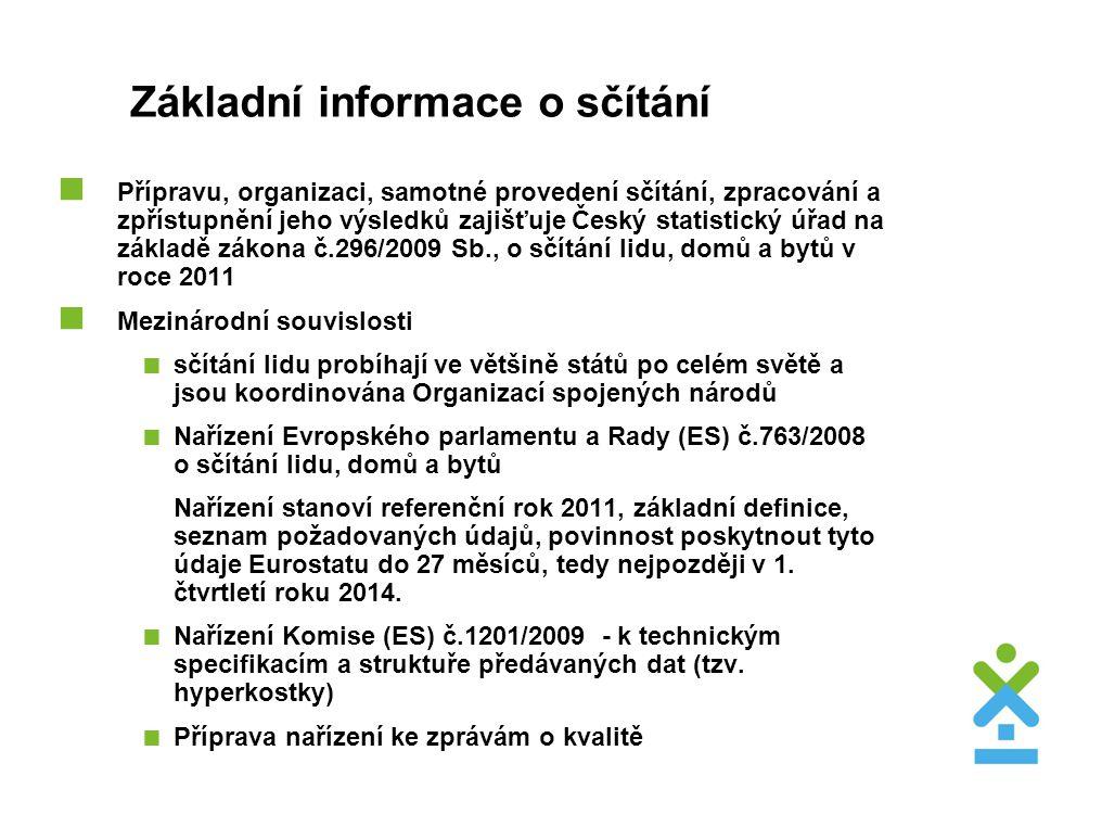 Základní informace o sčítání  Přípravu, organizaci, samotné provedení sčítání, zpracování a zpřístupnění jeho výsledků zajišťuje Český statistický úř