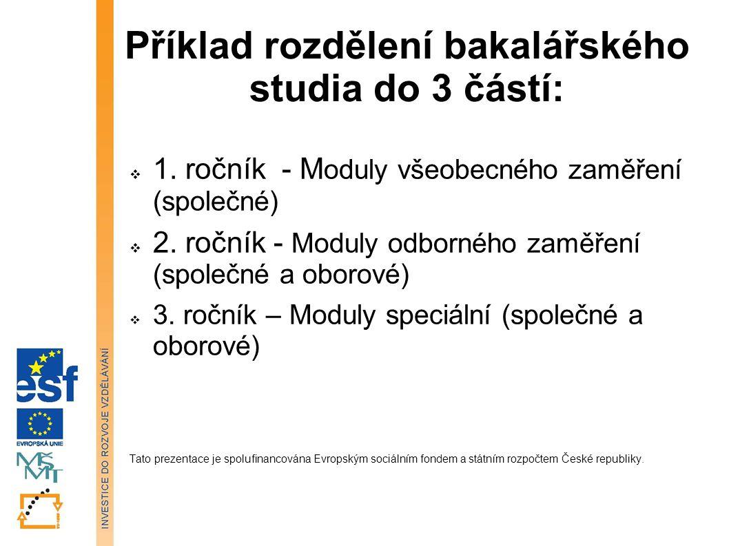 Příklad rozdělení bakalářského studia do 3 částí:  1. ročník - M oduly všeobecného zaměření (společné)  2. ročník - Moduly odborného zaměření (spole