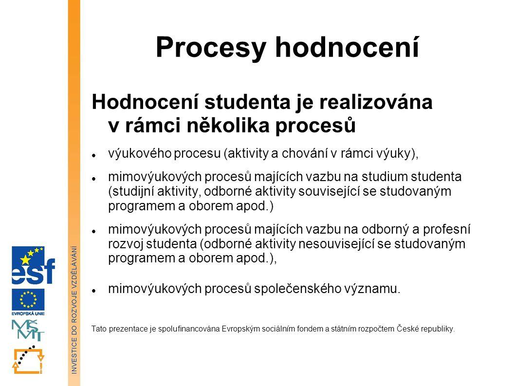 Procesy hodnocení Hodnocení studenta je realizována v rámci několika procesů výukového procesu (aktivity a chování v rámci výuky), mimovýukových proce