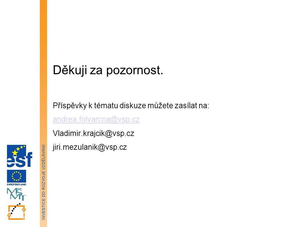 Děkuji za pozornost. Příspěvky k tématu diskuze můžete zasílat na: andrea.folvarcna@vsp.cz Vladimir.krajcik@vsp.cz jiri.mezulanik@vsp.cz