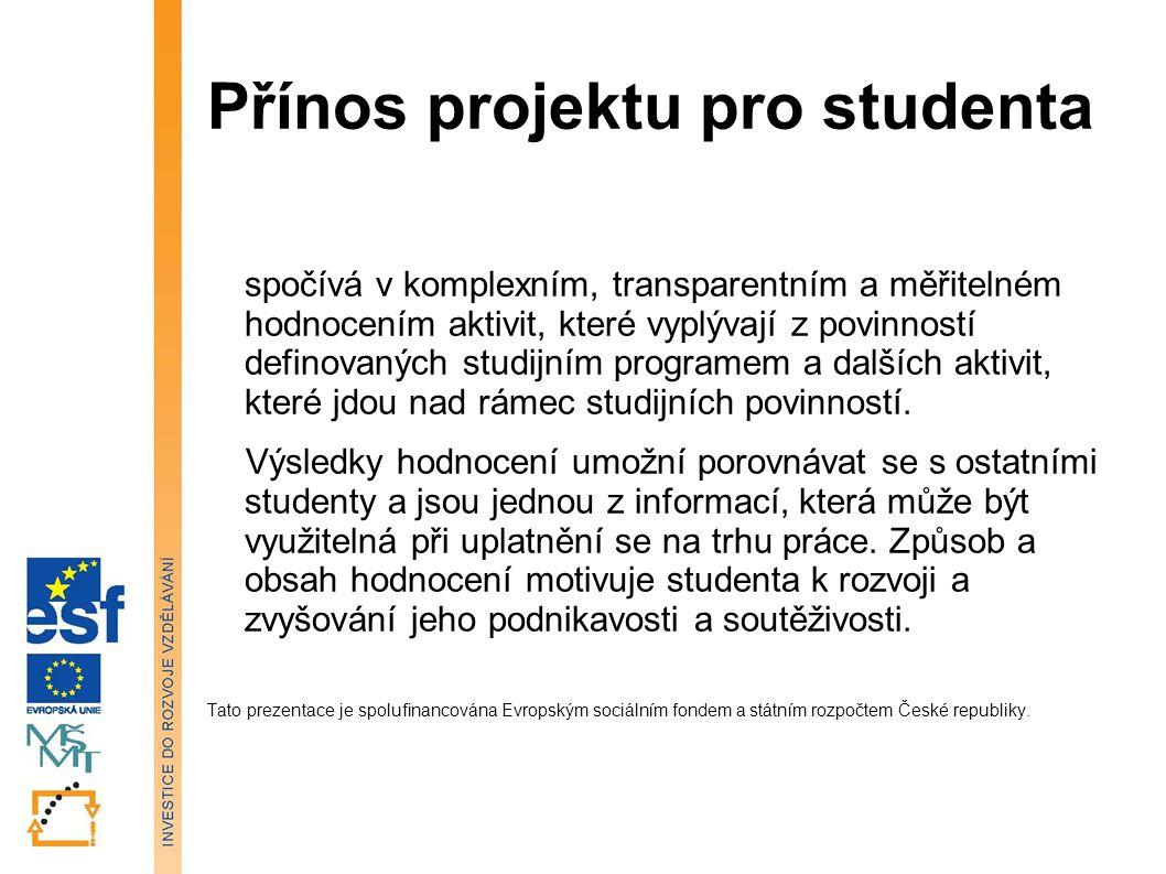 Přínos projektu pro studenta spočívá v komplexním, transparentním a měřitelném hodnocením aktivit, které vyplývají z povinností definovaných studijním