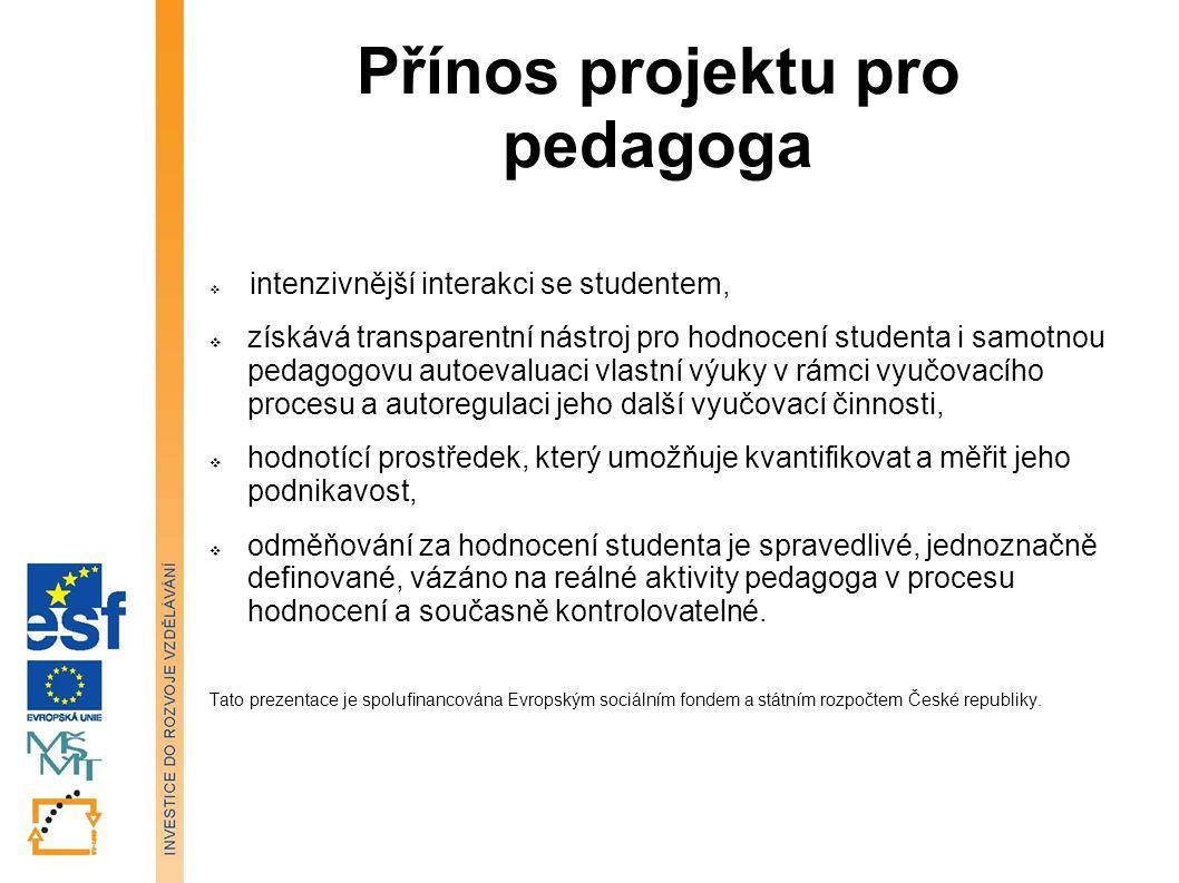 Přínos projektu pro pedagoga  intenzivnější interakci se studentem,  získává transparentní nástroj pro hodnocení studenta i samotnou pedagogovu auto