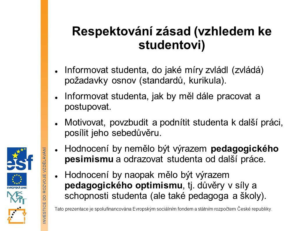 Respektování zásad (vzhledem ke studentovi) Informovat studenta, do jaké míry zvládl (zvládá) požadavky osnov (standardů, kurikula). Informovat studen
