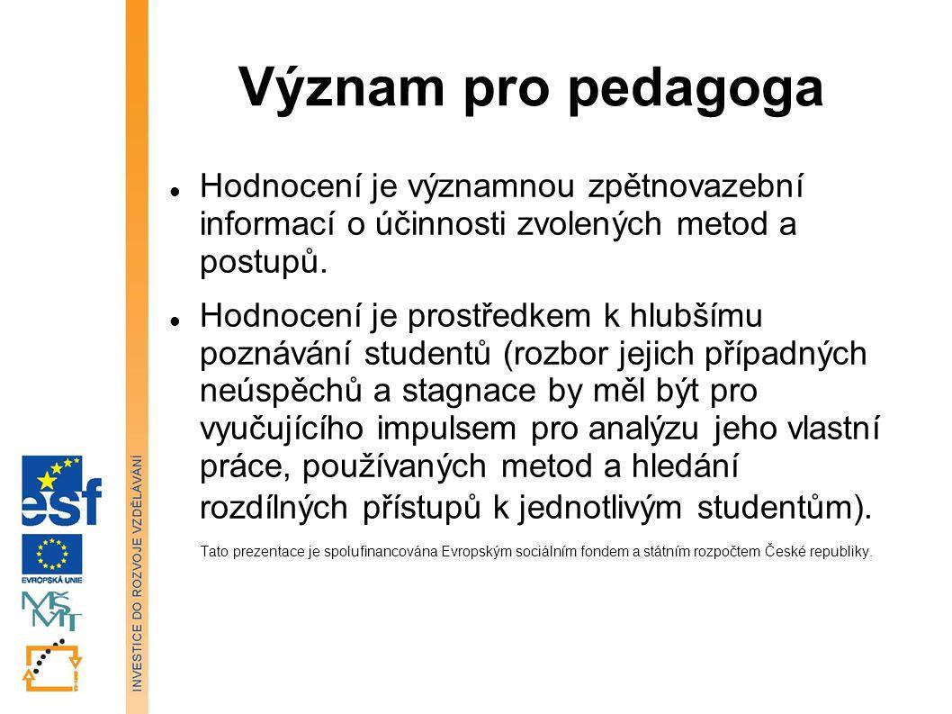 Význam pro pedagoga Hodnocení je významnou zpětnovazební informací o účinnosti zvolených metod a postupů. Hodnocení je prostředkem k hlubšímu poznáván