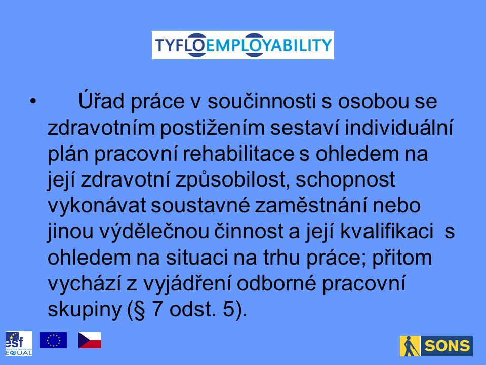 Úřad práce v součinnosti s osobou se zdravotním postižením sestaví individuální plán pracovní rehabilitace s ohledem na její zdravotní způsobilost, schopnost vykonávat soustavné zaměstnání nebo jinou výdělečnou činnost a její kvalifikaci s ohledem na situaci na trhu práce; přitom vychází z vyjádření odborné pracovní skupiny (§ 7 odst.