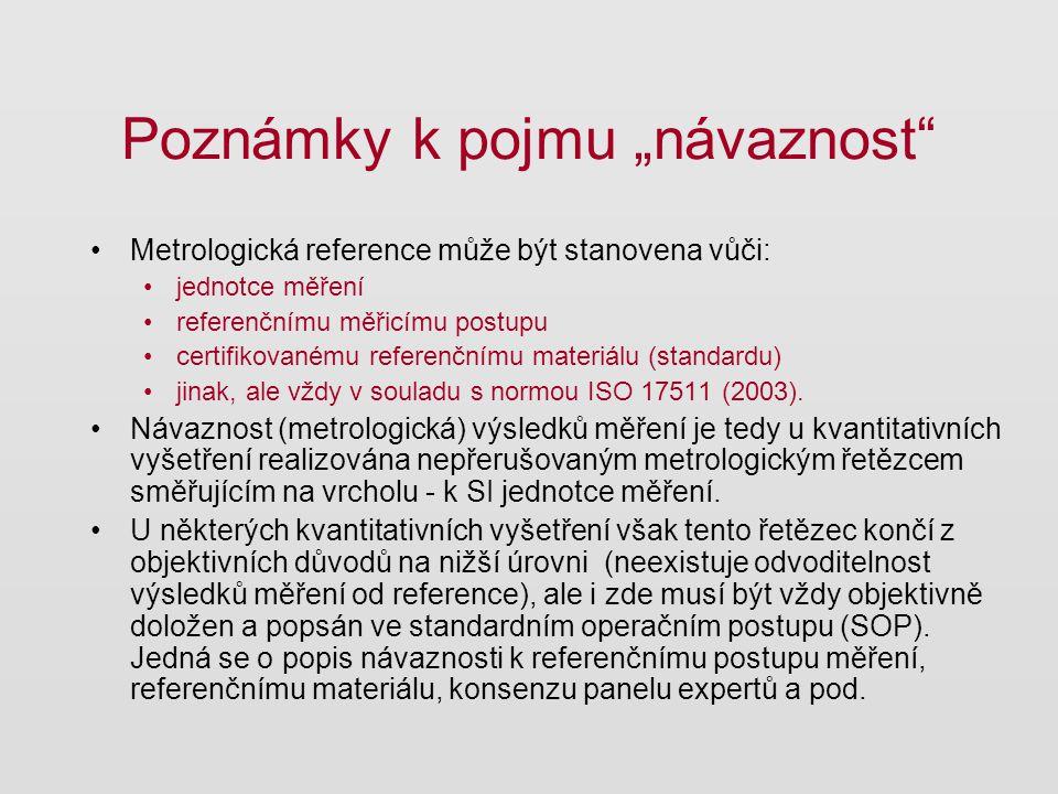 """Poznámky k pojmu """"návaznost"""" Metrologická reference může být stanovena vůči: jednotce měření referenčnímu měřicímu postupu certifikovanému referenčním"""