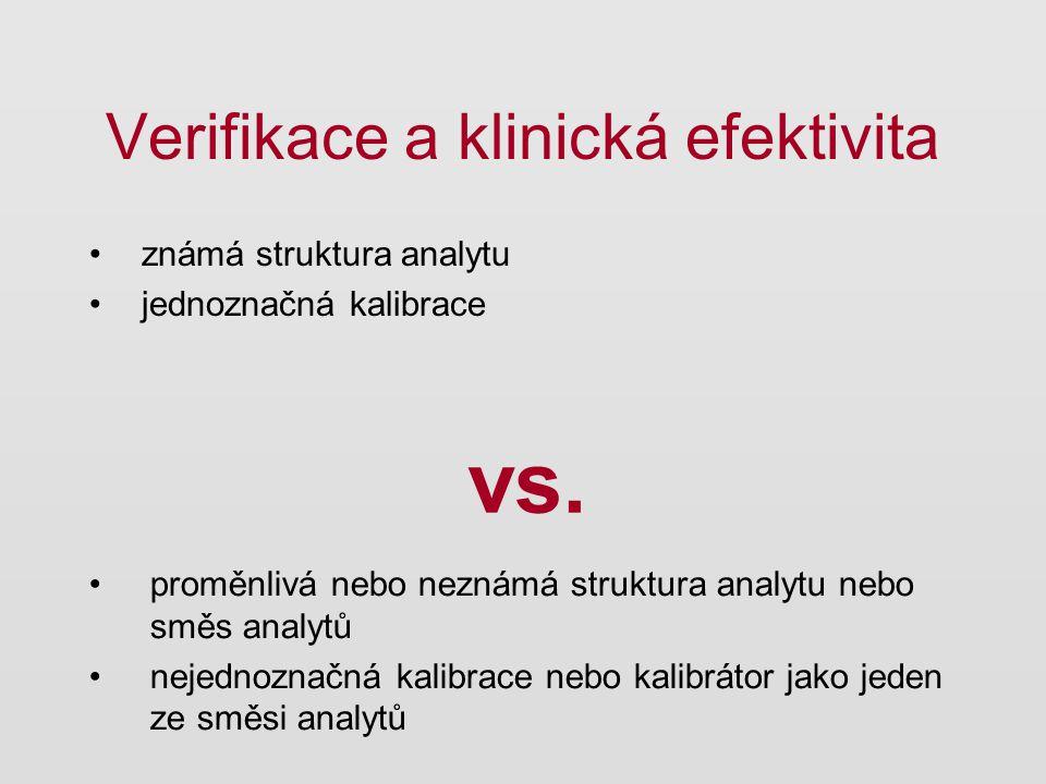Verifikace a klinická efektivita známá struktura analytu jednoznačná kalibrace vs. proměnlivá nebo neznámá struktura analytu nebo směs analytů nejedno