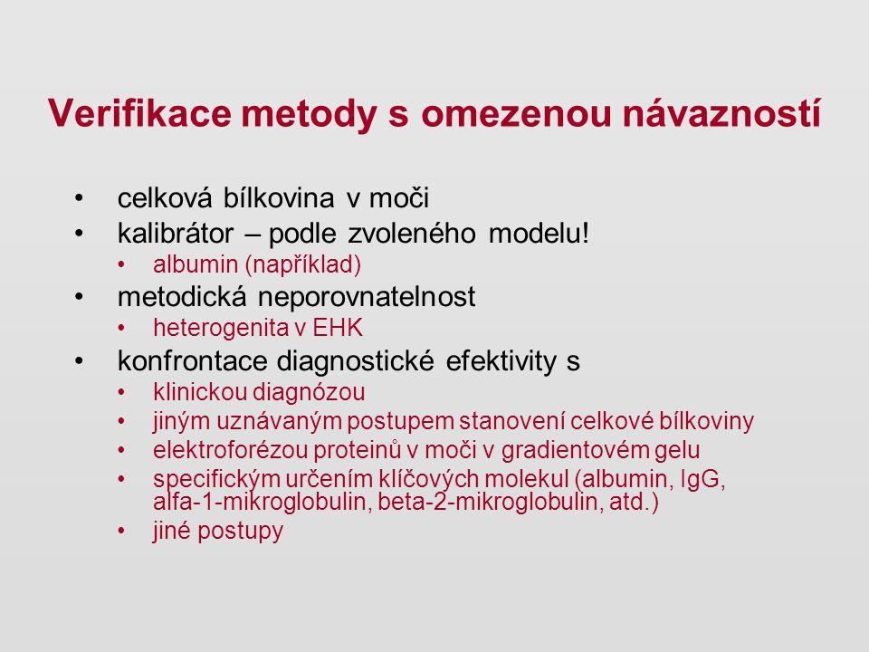 celková bílkovina v moči kalibrátor – podle zvoleného modelu! albumin (například) metodická neporovnatelnost heterogenita v EHK konfrontace diagnostic