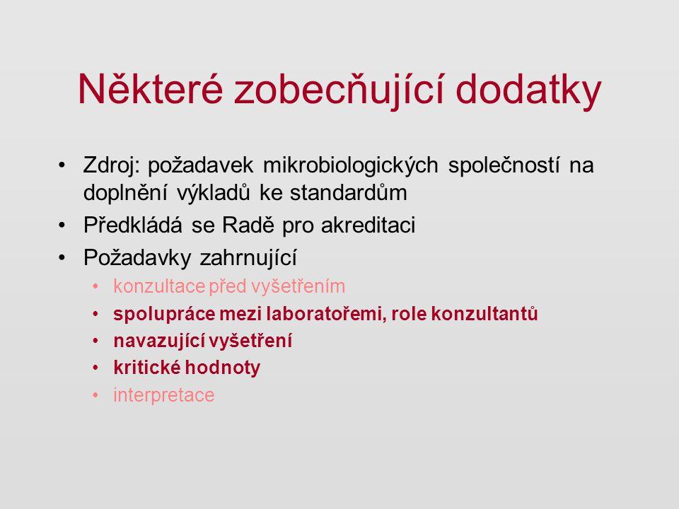 Některé zobecňující dodatky Zdroj: požadavek mikrobiologických společností na doplnění výkladů ke standardům Předkládá se Radě pro akreditaci Požadavk
