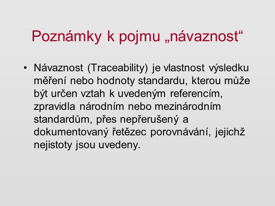 """Poznámky k pojmu """"návaznost Metrologická reference může být stanovena vůči: jednotce měření referenčnímu měřicímu postupu certifikovanému referenčnímu materiálu (standardu) jinak, ale vždy v souladu s normou ISO 17511 (2003)."""
