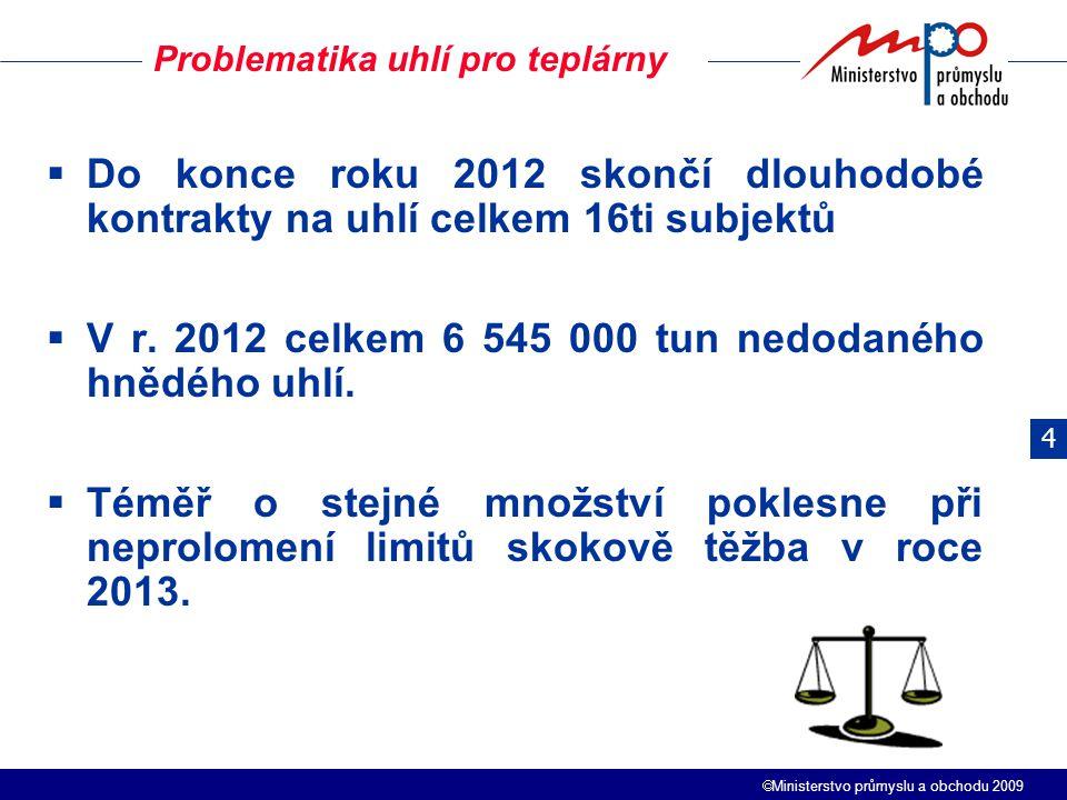  Ministerstvo průmyslu a obchodu 2009  Do konce roku 2012 skončí dlouhodobé kontrakty na uhlí celkem 16ti subjektů  V r. 2012 celkem 6 545 000 tun