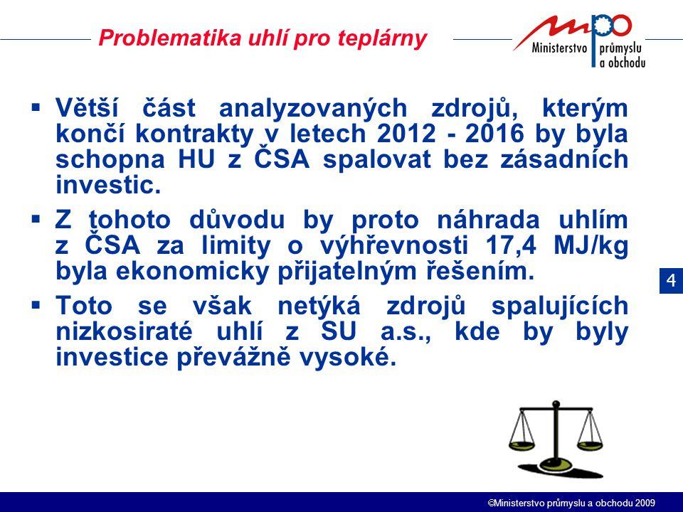  Ministerstvo průmyslu a obchodu 2009  Větší část analyzovaných zdrojů, kterým končí kontrakty v letech 2012 - 2016 by byla schopna HU z ČSA spalova