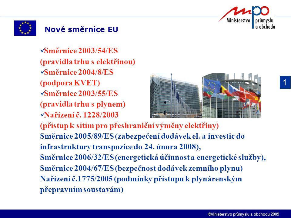  Ministerstvo průmyslu a obchodu 2009 Směrnice 2003/54/ES (pravidla trhu s elektřinou) Směrnice 2004/8/ES (podpora KVET) Směrnice 2003/55/ES (pravidl