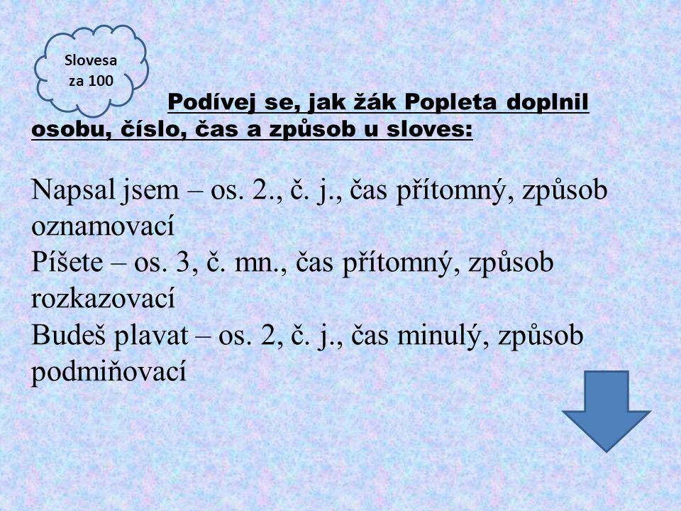 Podívej se, jak žák Popleta doplnil osobu, číslo, čas a způsob u sloves: Napsal jsem – os. 2., č. j., čas přítomný, způsob oznamovací Píšete – os. 3,