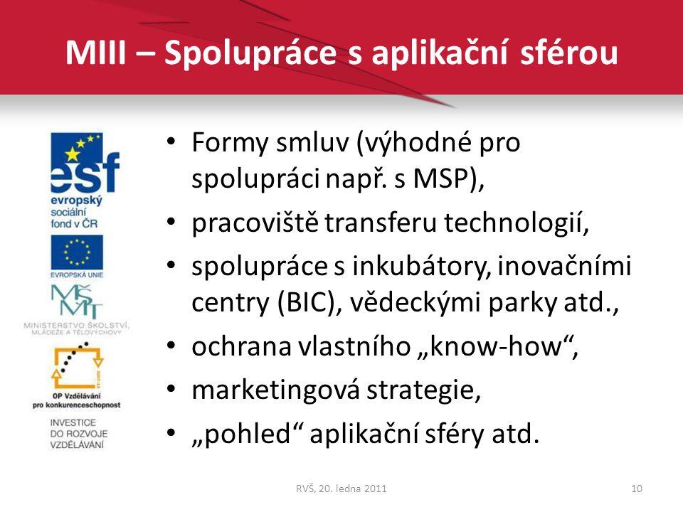 MIII – Spolupráce s aplikační sférou Formy smluv (výhodné pro spolupráci např. s MSP), pracoviště transferu technologií, spolupráce s inkubátory, inov