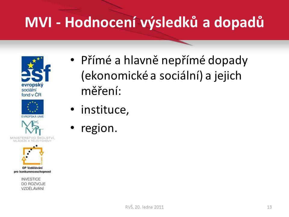 MVI - Hodnocení výsledků a dopadů Přímé a hlavně nepřímé dopady (ekonomické a sociální) a jejich měření: instituce, region. 13RVŠ, 20. ledna 2011
