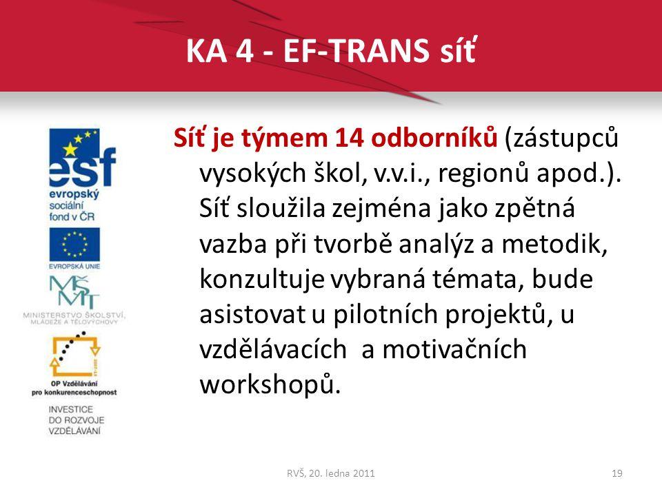 KA 4 - EF-TRANS síť Síť je týmem 14 odborníků (zástupců vysokých škol, v.v.i., regionů apod.). Síť sloužila zejména jako zpětná vazba při tvorbě analý