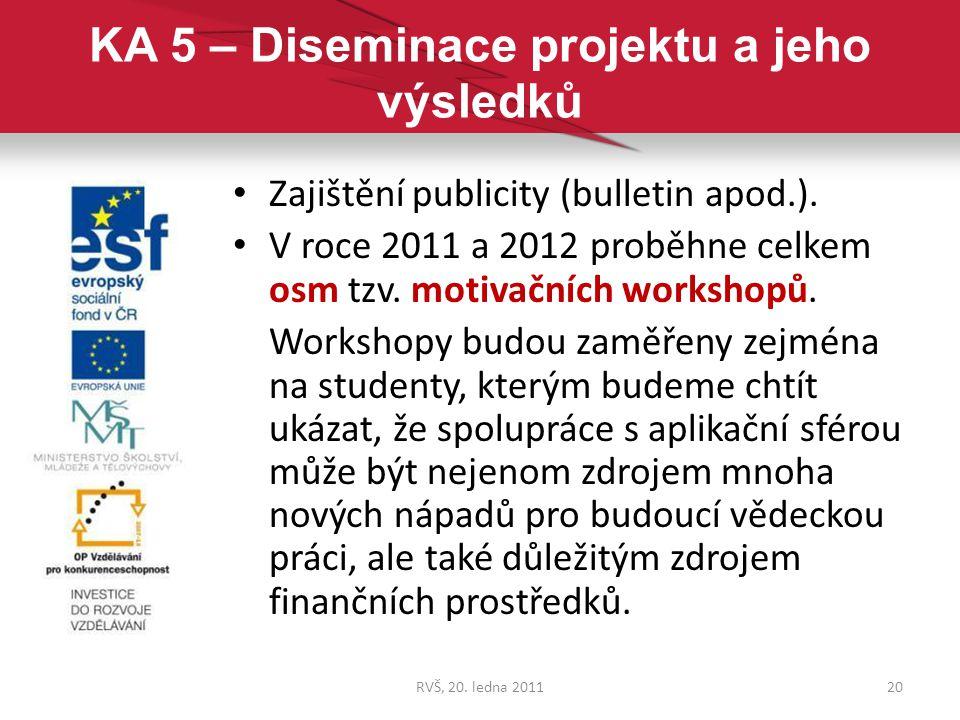 KA 5 – Diseminace projektu a jeho výsledků Zajištění publicity (bulletin apod.). V roce 2011 a 2012 proběhne celkem osm tzv. motivačních workshopů. Wo