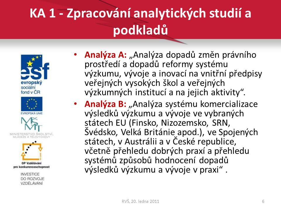 """KA 1 - Zpracování analytických studií a podkladů Analýza A: """"Analýza dopadů změn právního prostředí a dopadů reformy systému výzkumu, vývoje a inovací"""