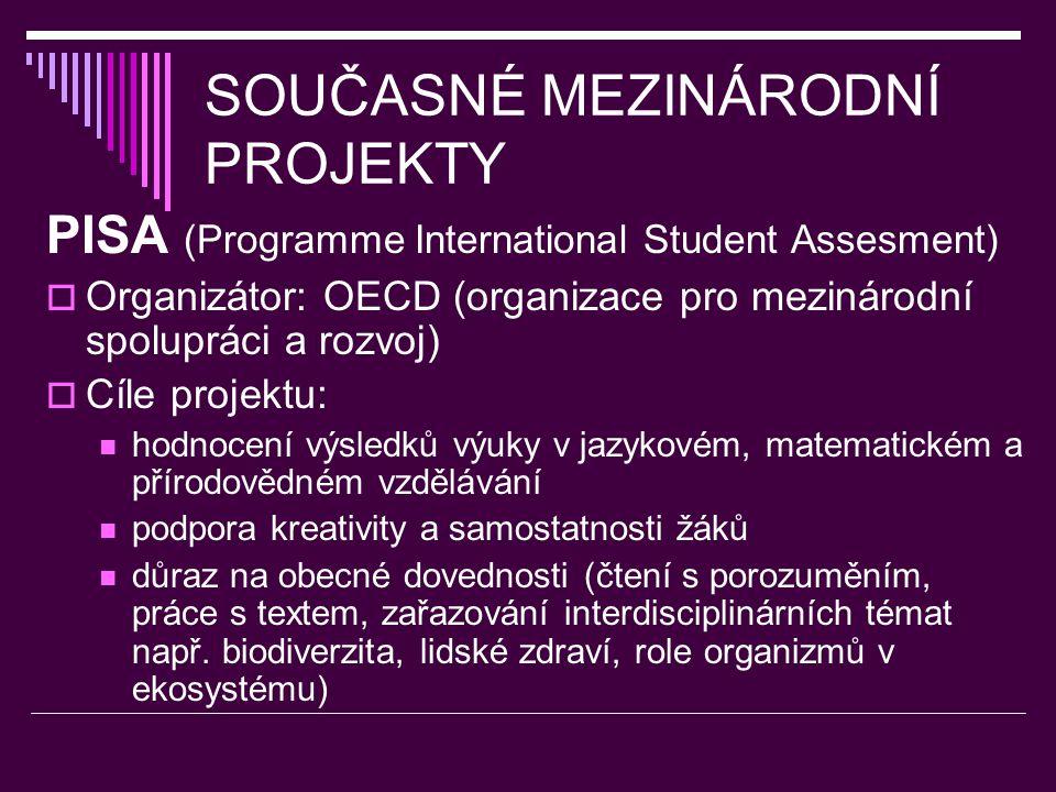 SOUČASNÉ MEZINÁRODNÍ PROJEKTY PISA (Programme International Student Assesment)  Organizátor: OECD (organizace pro mezinárodní spolupráci a rozvoj)  Cíle projektu: hodnocení výsledků výuky v jazykovém, matematickém a přírodovědném vzdělávání podpora kreativity a samostatnosti žáků důraz na obecné dovednosti (čtení s porozuměním, práce s textem, zařazování interdisciplinárních témat např.