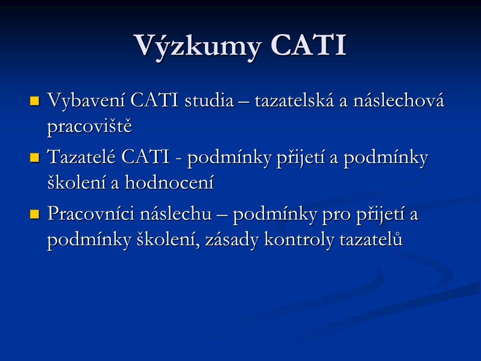 Výzkumy CATI Vybavení CATI studia – tazatelská a náslechová pracoviště Vybavení CATI studia – tazatelská a náslechová pracoviště Tazatelé CATI - podmí