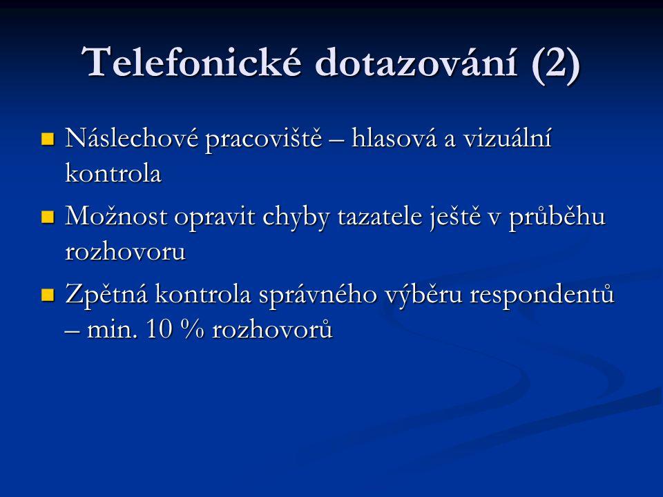 Telefonické dotazování (2) Náslechové pracoviště – hlasová a vizuální kontrola Náslechové pracoviště – hlasová a vizuální kontrola Možnost opravit chy