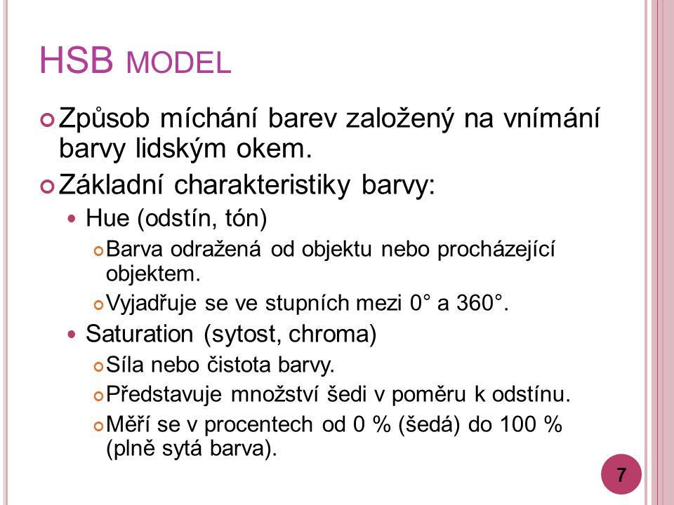 HSB MODEL Základní charakteristiky barvy: Brightness (jas, světelnost) Relativní světlost nebo tmavost barvy.