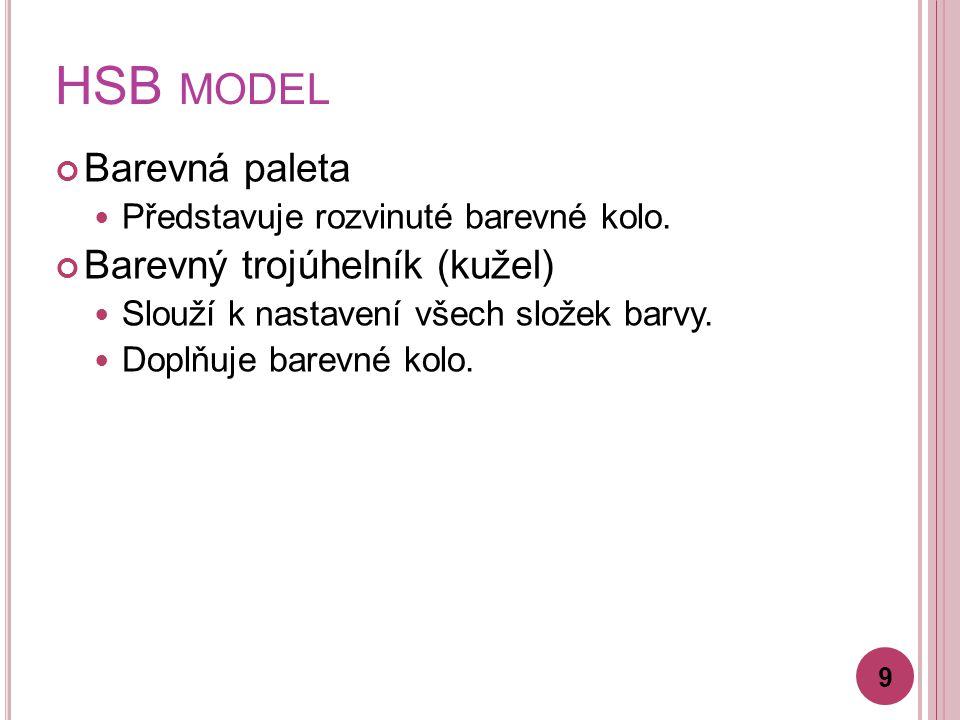 HSB MODEL Barevná paleta Představuje rozvinuté barevné kolo.