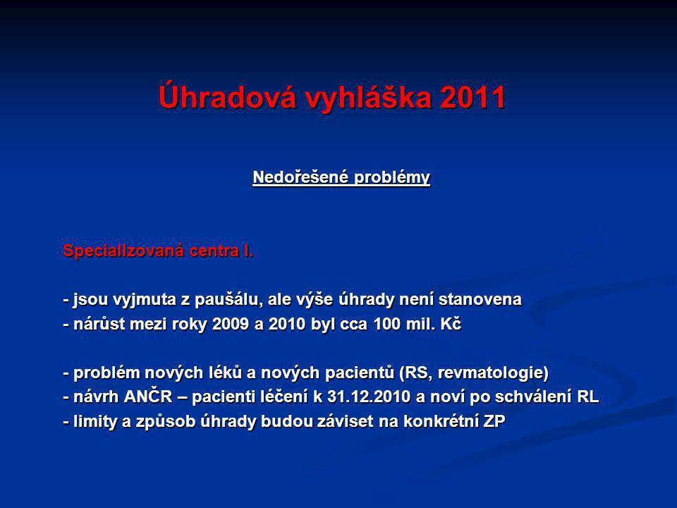 Úhradová vyhláška 2011 Nedořešené problémy Specializovaná centra I.