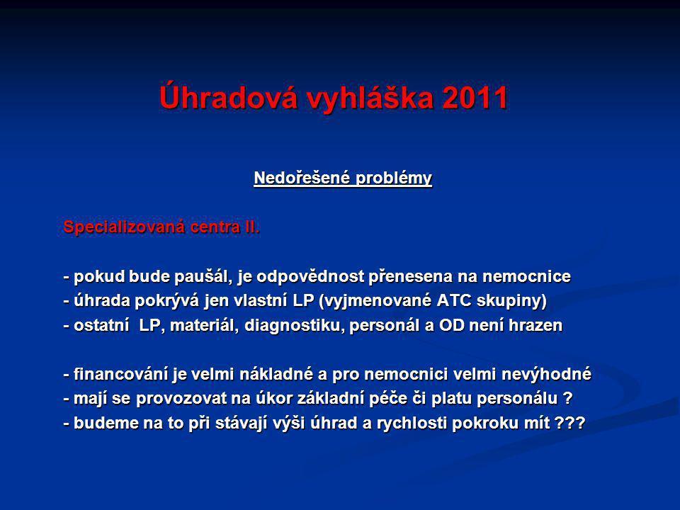 Úhradová vyhláška 2011 Nedořešené problémy Specializovaná centra II.