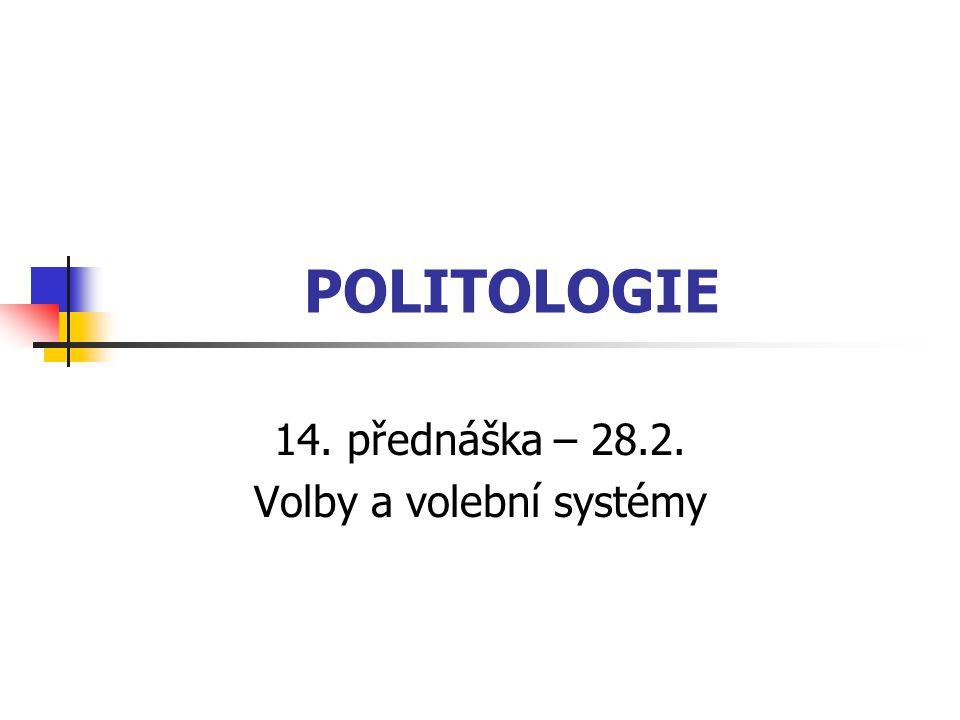 POLITOLOGIE 14. přednáška – 28.2. Volby a volební systémy