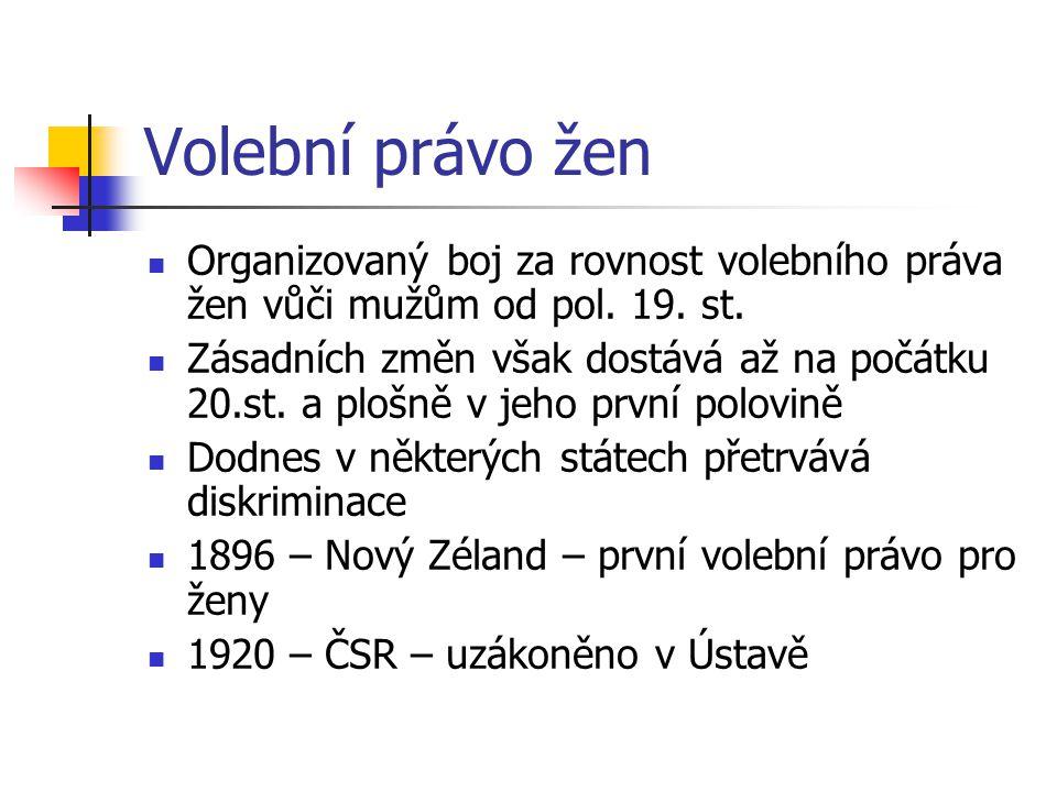 Volební právo žen Organizovaný boj za rovnost volebního práva žen vůči mužům od pol.