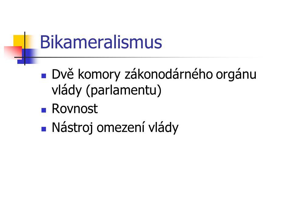 Bikameralismus Dvě komory zákonodárného orgánu vlády (parlamentu) Rovnost Nástroj omezení vlády