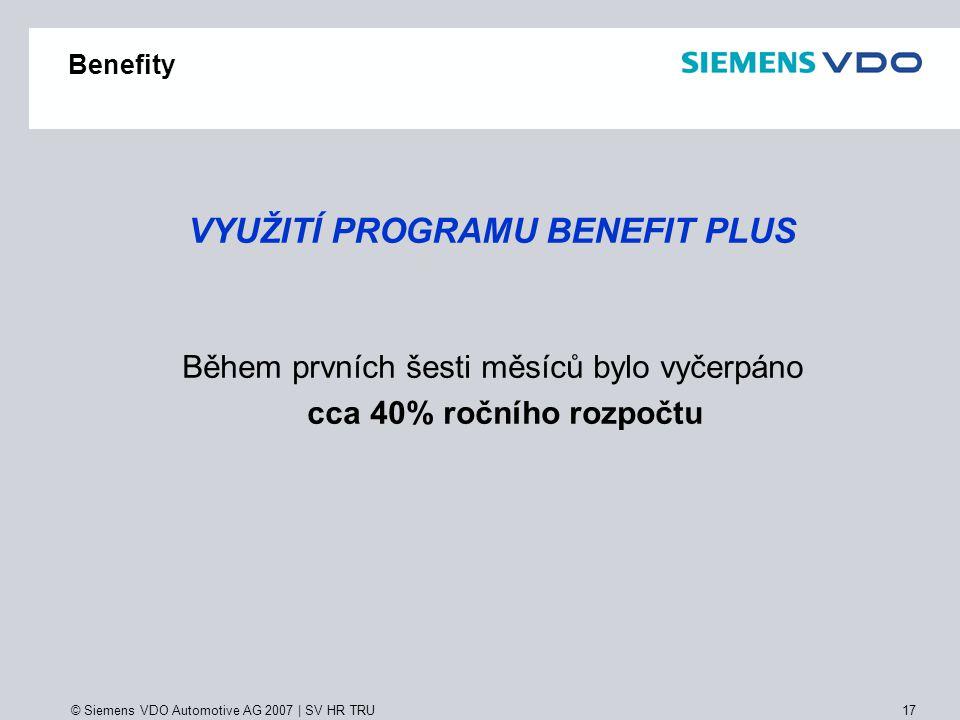 © Siemens VDO Automotive AG 2007 | SV HR TRU 17 Benefity VYUŽITÍ PROGRAMU BENEFIT PLUS Během prvních šesti měsíců bylo vyčerpáno cca 40% ročního rozpo