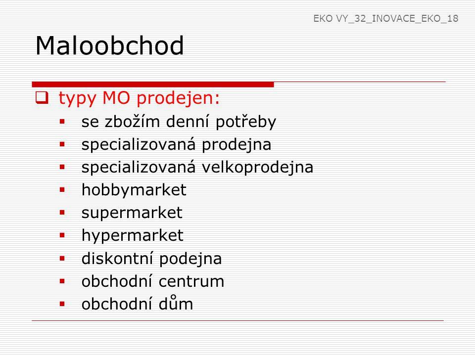 Maloobchod  typy MO prodejen:  se zbožím denní potřeby  specializovaná prodejna  specializovaná velkoprodejna  hobbymarket  supermarket  hyperm