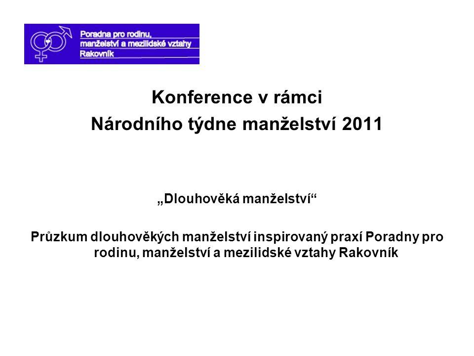 """Konference v rámci Národního týdne manželství 2011 """"Dlouhověká manželství"""" Průzkum dlouhověkých manželství inspirovaný praxí Poradny pro rodinu, manže"""