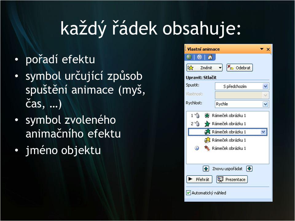 každý řádek obsahuje: pořadí efektu symbol určující způsob spuštění animace (myš, čas, …) symbol zvoleného animačního efektu jméno objektu