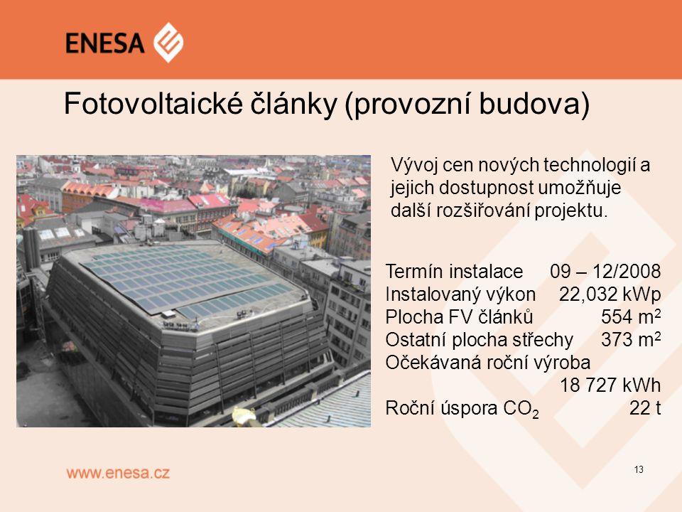 13 Fotovoltaické články (provozní budova) Termín instalace09 – 12/2008 Instalovaný výkon22,032 kWp Plocha FV článků554 m 2 Ostatní plocha střechy373 m