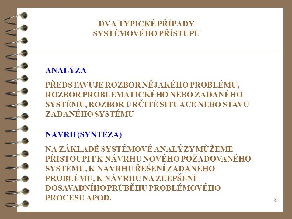 8 DVA TYPICKÉ PŘÍPADY SYSTÉMOVÉHO PŘÍSTUPU ANALÝZA PŘEDSTAVUJE ROZBOR NĚJAKÉHO PROBLÉMU, ROZBOR PROBLEMATICKÉHO NEBO ZADANÉHO SYSTÉMU, ROZBOR URČITÉ SITUACE NEBO STAVU ZADANÉHO SYSTÉMU NÁVRH (SYNTÉZA) NA ZÁKLADĚ SYSTÉMOVÉ ANALÝZY MŮŽEME PŘISTOUPIT K NÁVRHU NOVÉHO POŽADOVANÉHO SYSTÉMU, K NÁVRHU ŘEŠENÍ ZADANÉHO PROBLÉMU, K NÁVRHU NA ZLEPŠENÍ DOSAVADNÍHO PRŮBĚHU PROBLÉMOVÉHO PROCESU APOD.